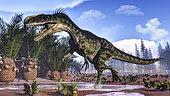 A Monolophosaurus dinosaur walking amongst cycas and calamites.