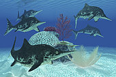 A group of large Ichthyosaurus marine reptiles from the Triassic and Jurassic periods.