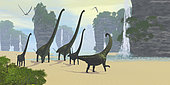 A Mamenchisaurus dinosaur herd comes down to a lake for a drink of water with two Pteranodon flying reptiles hunting for fish.