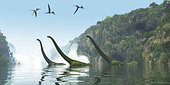 Two adult Mamenchisaurus dinosaurs escort a youngster across a river as Pterodactylus birds search for fish prey.