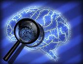 Illustration of human mind magnifier and fingerprint