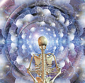 Skeleton sits in pose of lotus before multi-layered spaces and spiral of time.
