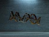 3D rendering of a damaged DNA Strand.