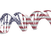 DNA chain in USA national colors.