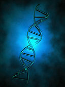 DNA chain in blue light.