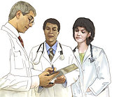 Three healthcare workers discussing a patient's chart.