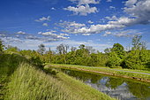 Rhone-Rhine Canal in summer, Doubs, France