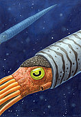 Endoceras, a cephalopod from the Middle and Upper Ordovician period (485 - 479 million years ago). This squid like creature could grow up to 5 meters in length. Many fossils of this animal have been found in Slemmestad, Norway. . . Copic Markers and colored pencil on Fabriano paper