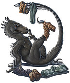 A playful Deinonychus dinosaur playing with socks. Acrylics and colored pencil.