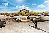 Some ceratosaurs have been attracted to the smell of the decaying meat of an Apatosaurus that has died in a mud puddle. One of them has already been trapped in the mud.