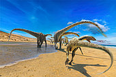 While following a group of Diplodocus along the seashore, a theropod receives a brutal tail blow from one of the herbivores, disturbed by the presence of the predator.