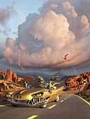 Two Velociraptors in their scary car cruise a prehistoric landscape.