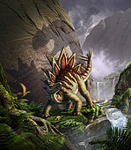 A Stegosaurus is surprised by an Allosaurus while feeding in a lush gorge.
