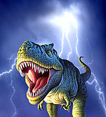 A Tyrannosaurus Rex with a blue stormy sky and lightning behind it.
