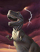 A Tyrannosaurus Rex with a red stormy sky and lightning behind it.