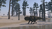 Udanoceratops walking along the water's edge.