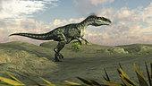 Monolophosaurus walking across desert terrain.