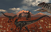 A pack of carnivorous Allosaurus dinosaurs track down a pair of herbivorous Stegosaurus dinosaurs. The Allosaurus are in pursuit of their next meal, and despite their killing power they are well aware of the Stegosaurus' natural body defenses which can prove lethal.