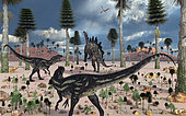 A pair of carnivorous Allosaurus dinosaurs confront a lone herbivorous Stegosaurus back in the Jurassic period.