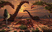 Artist's concept illustrating an amazing sculpture park where all the exhibits are life-size dinosaurs carved out of the local natural rocks, which date back to the real life creatures themselves.