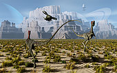 As man reaches out deeper into the universe and begins to explore alien worlds, who knows what may be found. In this scene, a pair of Compsognathus dinosaurs have been startled by an approaching helicopter. An ancient Mayan pyramid can be seen In the distant background.
