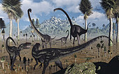 A pair of juvenile Allosaurus predators set their eyes on a young Omeisaurus sauropod, which is being guarded by two larger adults. If they can get the youngster on its own, they are sure of their next meal.