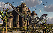 An Allosaurus strolls past one of the reptoids rather impressive buildings. Way back in prehistoric times there existed a reptoid race who co-existed alongside the dinosaurs. Their buildings were monumental and their civilization cultured, but like the dinosaurs, they too have become extinct. .