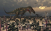 A pair of Nanotyrannus dinosaurs are more than surprised when thousands of migrating robots come close to knocking them off their feet.