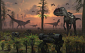 A pack of carnivorous Allosaurus dinosaurs cause chaos after they have escaped from a futuristic dinosaur theme park.