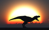 A T. Rex silhouetted against the setting Sun at the end of a prehistoric day.