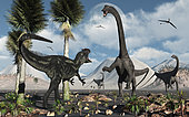 A carnivorous Allosaurus confronts a giant Diplodocus herbivore during the Jurassic period on Earth.