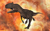 A carnivorous Allosaurus from the late Jurassic period of time.