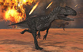 A pair of Allosaurus dinosaurs running from the site of meteorite impacts on a prehistoric Earth.