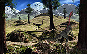 A pack of Compsognathus dinosaurs searching for their next meal during the late Jurassic period of time.
