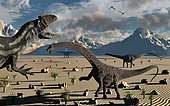 A hungry carnivorous Allosaurus dinosaur fixes its gaze on a small group of Diplodocus herbivore dinosaurs, in the hopes that one will become it's next meal. The patriarch of the group has other ideas.