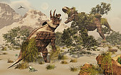 Living fossils of a Triceratops and a T-Rex confronting each other.