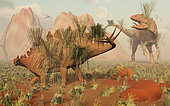Living fossils of a Stegosaurus and an Allosaurus come face to face, resulting in what looks like a fossilized confrontation.