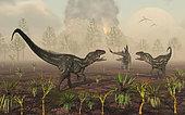 A pair of carnivorous Allosaurus dinosaurs tracking down a lone herbivorous Stegosaurus.