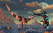 A sci-fi scene of Allosaurus and Stegosaurus dinobots about to battle.