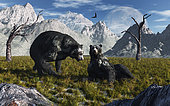 A pair of Arctodus bears, also known as short-faced bears, courting each other during Earth's Pleistocene era.