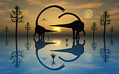 A pair of sauropod Omeisaurus dinosaurs involved in courtship rituals on a peaceful Jurassic evening.