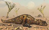 A pair of carnivorous Carnotaurus dinosaurs waiting out a passing sandstorm during the Cretaceous Period.