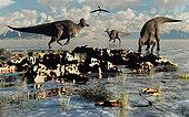 Corythosaurus duckbill dinosaurs at a watering and feeding ground.