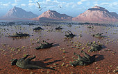 A herd of dead Centrosaurus dinosaurs killed by a flash flood during Earth's Cretaceous Period.