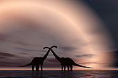 The silhouetted forms of a pair of courting sauropod dinosaurs.