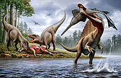 A Spinosaurus hunting an Onchopristis while two Carcharodontosaurus eat the carcass Ouranosaurus in the background.
