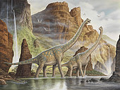 A pair of Giraffatitan walking in a valley river.