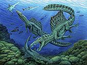Spinosaurus dinosaurs hunting Onchopristis sawfish.