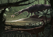 Baryonyx walkeri fishing on the migration of Catharus, while a Pelecanimimus polyodon prowls the opposite bank, in a river of the late Barremian (Early Cretaceous) of Spain.