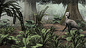 Psittacosaurus sinensis rests on his haunches to explore the understory of a forest in the Early Cretaceous of Asia.